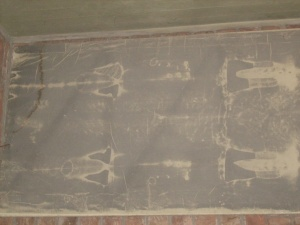 Esta es una de las imágenes de la réplica del Santo Sudario que puede verse en el Santuario Nuestra Señora Madre de los Emigrantes